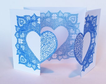 Hand printed, locking love hearts, valentines greetings card