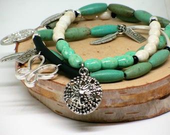 Trio de bracelet extensible//bracelet papillon//bracelet arbre//bracelet coquillage//bracelet vert//green bracelet//butterfly bracelet