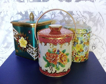 Vintage Rose Tin with a Handle and Gold Accents, Made in England