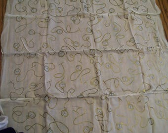 """Vintage Ladies Scarf FREE SHIPPING Silk Scarf Hand Rolled Edge Decorated with Pocket Watches on Chains Circa 1960s 21"""" Square"""