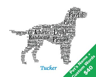 Custom Dog Art, Art with Custom Words, Custom Dog Gift, Custom Gift, Custom Dog Print