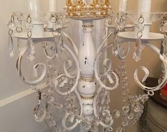 Standing Candelabra, Wedding,event, romantic, prisms, gold crown
