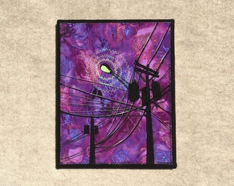 The Purple Hour, 8x10 inches, original sewn fabric artwork, handmade, freehand appliqué, ready to hang canvas