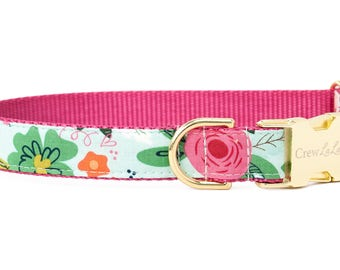 Crew LaLa ™ Minty Floral Dog Collar
