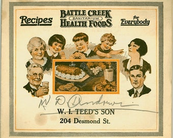 Battle Creek Sanitarium Recipes Health Foods Recipes 1920s Vegetarian Vegan Book Advertising Booklet Michigan Meltose