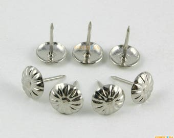 50Pcs 11x16mm Silver Flower Upholstery Tacks Nails (TN71)