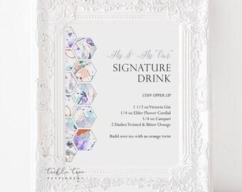 Signature Drinks Sign Art Print - Paint Splatter
