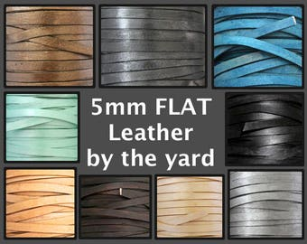 5mm FLAT Leather Cord By the Yard - Genuine NATURAL Indian Leather Cord for Wrap Bracelet - DIY Distressed boho jewelry Wholesale cord - Usa