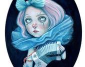 Little clown with her concertina,  an A6 postcard print of my original clown painting.