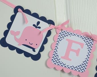 Anchor And Whale Banner, Name Banner, Nautical Baby Shower, Anchor Chevron Party, Nautical, Chevron Banner,  Pink and Navy Blue Banner