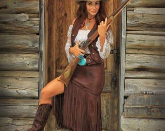 Long Fringed Leather Skirt