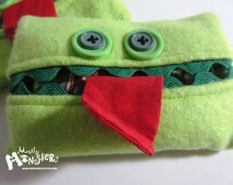 Kleenex Kreature; Tissue Holder; Pocket Tissue; Travel hankie;  back to school; purse pal; tissue cover; lime green tissue monster