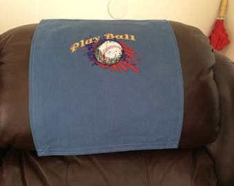 Baseball Design, Recliner Chair Cover, Headrest  Furniture Protector, Upholstery, Embroidered Design, Blue Twill, 14x30, Play Ball Wording