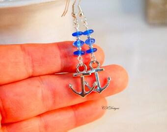 Blue Glass Nautical Earrings, Silver Anchor Charms,  Glass Beaded Dangle Pierced or Clip-on Earrings. OOAK Handmade Earrings. CKDesigns.US