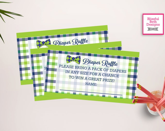 BOWTIE DIAPER RAFFLE Boy Bowtie Diaper Raffle Ticket, Diaper Raffle Ticket, Shower Diaper Raffle, Blue and Green Diaper Raffle Ticket