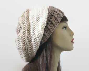 Crochet Slouchy Cream Hat Slouch Cream Beanie  Striped Off White knit Slouch Hat Beige Crochet Hat Tan  Striped Slouchy Hat Slouch Tam