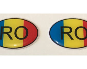"Romania RO Domed Gel (2x) Stickers 0.8"" x 1.2"" for Laptop Tablet Book Fridge Guitar Motorcycle Helmet ToolBox Door PC Smartphone"