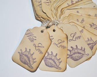 sea shells purple with love favor gift tags. beach theme party. hand stamped. rustic vintage Inspired . medium size