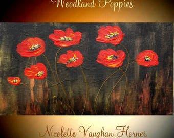 Small Oil Woodland Poppy Painting Abstract Original Modern palette knife impasto oil  by Nicolette Vaughan Horner