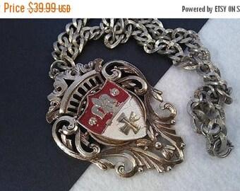 On Sale Vintage Maltese Cross Crown Fleur de lis Shield Necklace, Statement Jewelry, Mid Century Collectibles,  Retro Runway 1960's 1970's J
