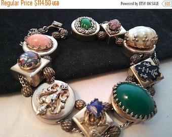 ON SALE Vintage Chunky Wide Slider Bracelet - Retro 1950's 1960's Geometric Circle Style Jewelry