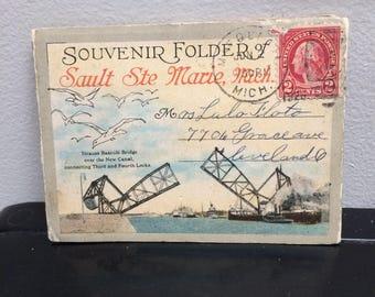 Vintage Sault Ste Marie Michigan Postcard - Photo Book - Vintage Miniature Accordion Photo Book - Sault Ste Marie, Mich Souvenir Folder