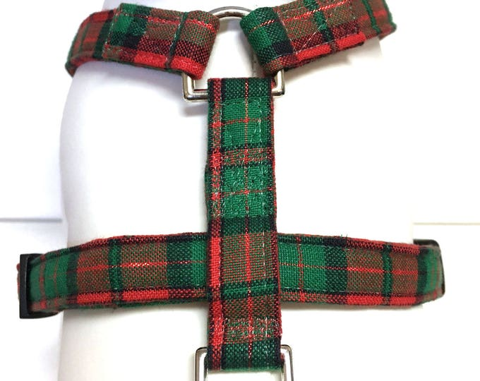 Featured listing image: Naked Dog Harness- The Red and Green Plaid- Adjustable