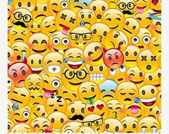 Emoji cotton fabric etsy for Emoji material by the yard