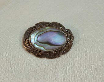 Vintage c1900's Victorian Style Sterling and Abalone Throat Booch