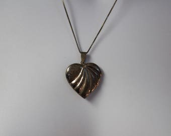 c1950's Sterling Heart Locket Pendant and Sterling Chain