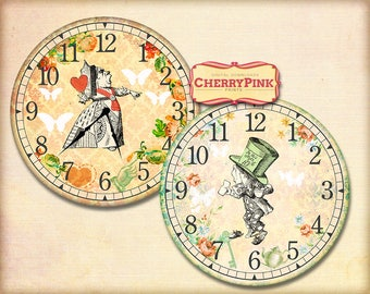 Alice in Wonderland Clock image , printable party decor, diy paper crafting digital collage sheet, INSTANT DOWNLOAD
