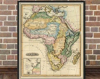 Old map of Africa - Africa map  reproduction - Vintage maps restored archival prints