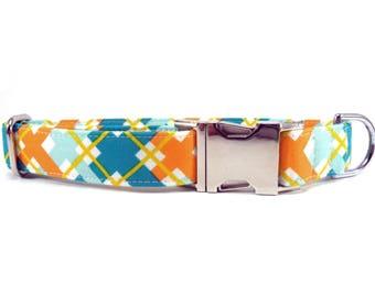 Teal Orange Plaid Dog Collar