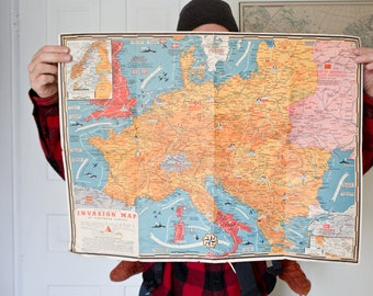 Vintage Invasion Map - Europe War Map Map Road Map Trip Map Art War Map Fortress Europe World War II 2 Dated Events