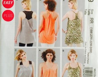 McCall's M6359, Size 18W-20W-22W-24W, Women's Tunics Pattern, UNCUT, Plus Size, Tank Top, Loose Fitting, Casual Wear