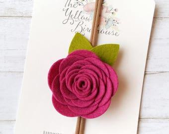 Rose Headband. Pink Felt Rose Headband. Flower Headband. Flower Crown. Baby Rose Headband. Baby Headband. Baby Photo Prop. Baby Shower Gift