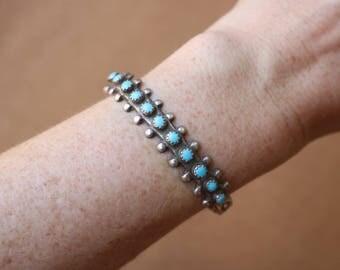 Turquoise Row Cuff / Tourist Era BRACELET / Snake Eye Turquoise Cuff / Sterling Silver Zuni Style Jewelry