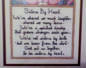 Religious Framed Cross-stitch Wall Hanging SISTERS By HEART Best Friend Gift