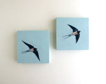 Flying Swallows Diptych Painting