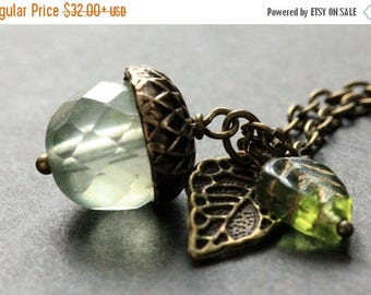 SUMMER SALE Winter Mint Acorn Necklace. Crystal Acorn Necklace. Acorn Charm Necklace in Bronze. Handmade Jewelry.