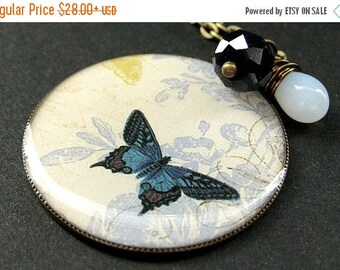 BACK to SCHOOL SALE Cadet Blue Butterfly Necklace. Charm Necklace with Midnight Blue Crystal and Wire Wrapped Teardrop. Handmade Jewelry.