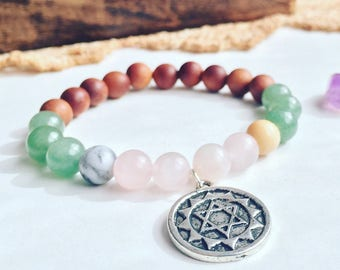 Energy Bracelet for Love · Sat Siri Akal Gemstone bracelet · Rose Quartz Aventurine Amazonite, Healing Bracelet, Mala Chakra Bracelet, yoga