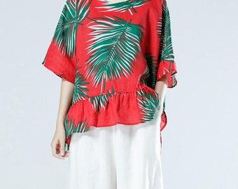 Linen Oversize blouses shirt red top