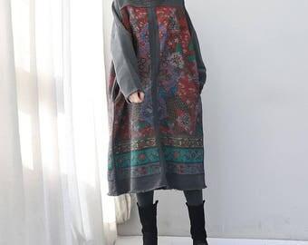 spring round collar large size dress Long Oversize dress printed maternity dress