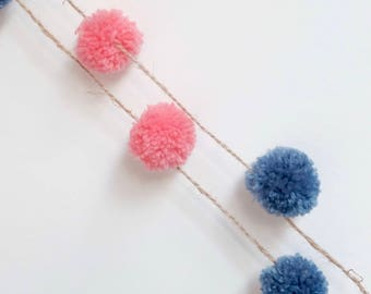 Handmade Pink and Blue Wool Mini Pom Pom Garland/ Wall Hanging/ Mobile/ Nursery Decoration/ Baby's Room/ Bedroom 2m