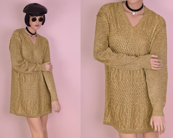 80s Gold Metallic Sweater Dress/ Medium/ 1980s