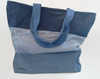 Large Denim Beach Bag, Seashell Lining, Tote Bag, Overnight Bag, Upcycled, Sustainable Tote