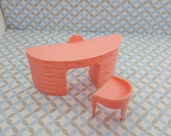 Plasco Vanity with Stool Pink Toy Dollhouse Traditional Style 1944  MCM retro