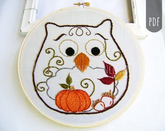 Embroidery Pattern PDF Owl Autumn Fall Pumpkin Acorn Owl