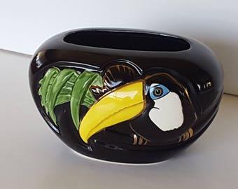 Vintage Toucan Bird Black Glossy Flower Vase